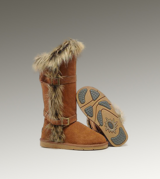 UGG Fox Fur Tall 1984 Chestnut Boots